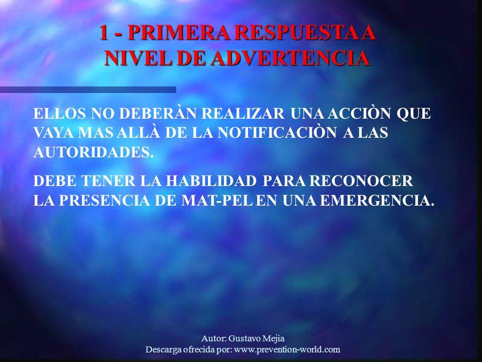1 - PRIMERA RESPUESTA A NIVEL DE ADVERTENCIA