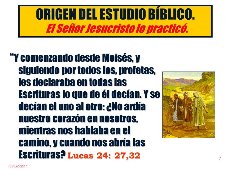 ORIGEN DEL ESTUDIO BÍBLICO. El Señor Jesucristo lo practicó.