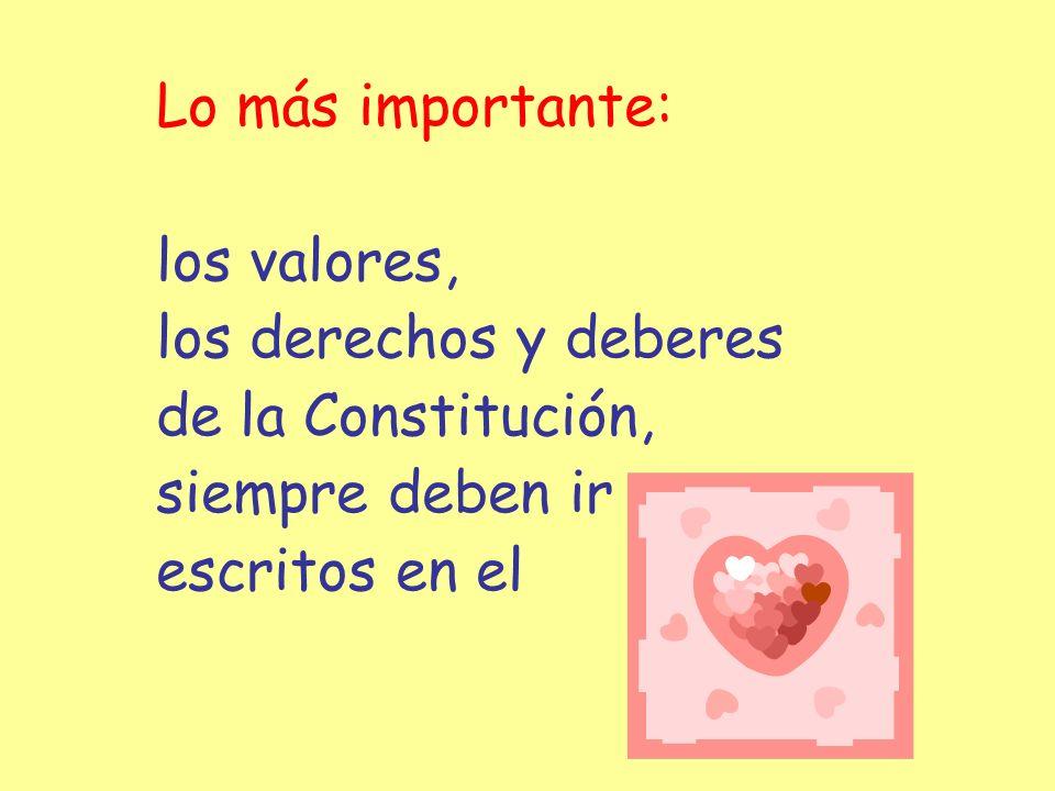Lo más importante: los valores, los derechos y deberes.