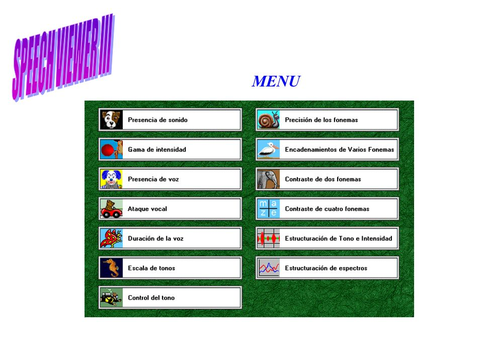 SPEECH VIEWER III MENU
