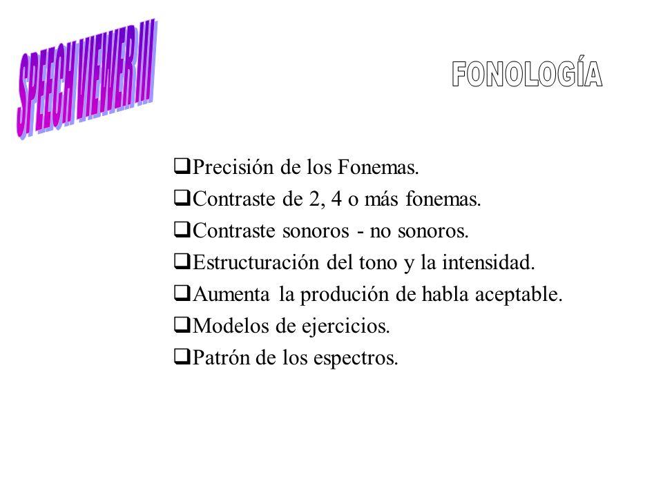 SPEECH VIEWER III FONOLOGÍA Precisión de los Fonemas.