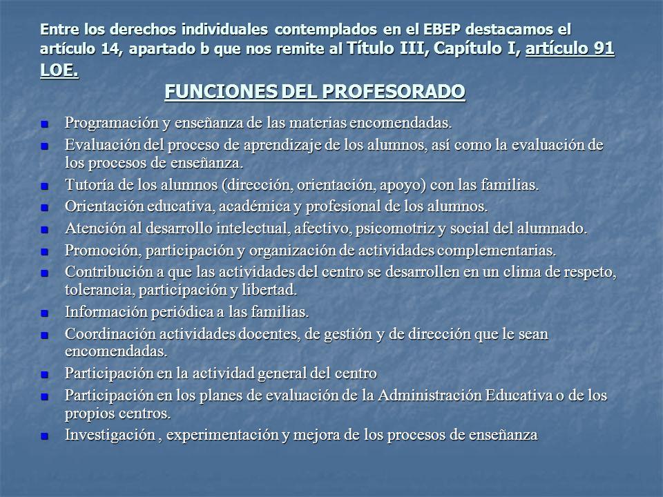 Programación y enseñanza de las materias encomendadas.