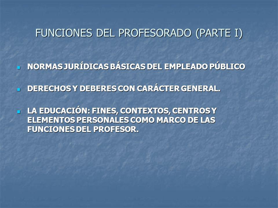 FUNCIONES DEL PROFESORADO (PARTE I)