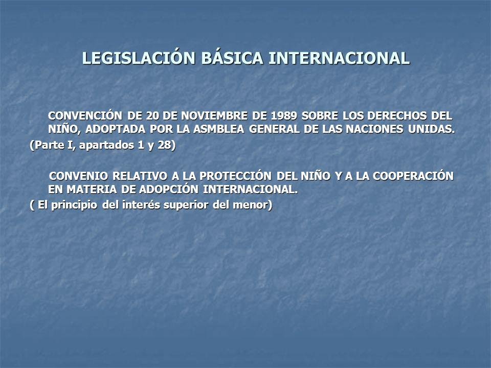 LEGISLACIÓN BÁSICA INTERNACIONAL