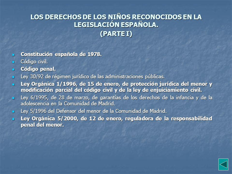 LOS DERECHOS DE LOS NIÑOS RECONOCIDOS EN LA LEGISLACIÓN ESPAÑOLA