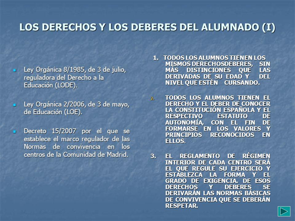 LOS DERECHOS Y LOS DEBERES DEL ALUMNADO (I)