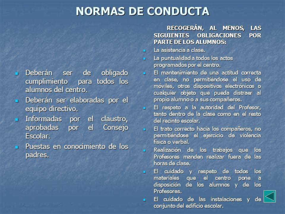 NORMAS DE CONDUCTA RECOGERÁN, AL MENOS, LAS SIGUIENTES OBLIGACIONES POR PARTE DE LOS ALUMNOS: La asistencia a clase.