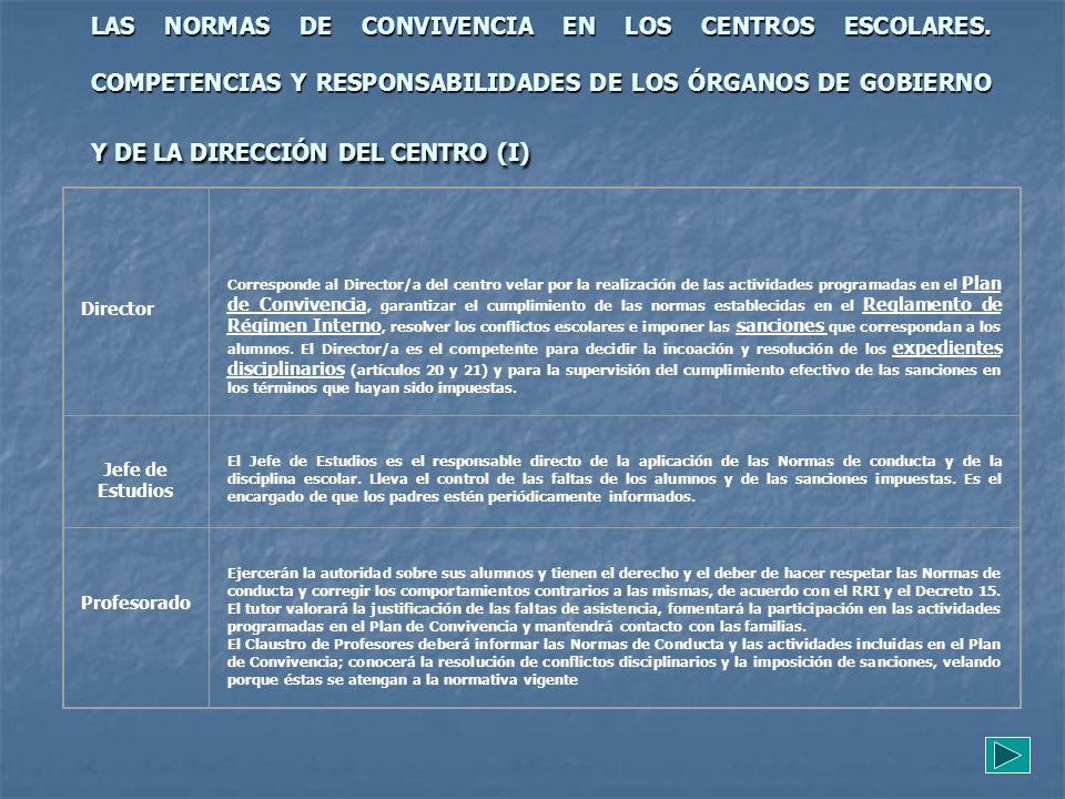 LAS NORMAS DE CONVIVENCIA EN LOS CENTROS ESCOLARES