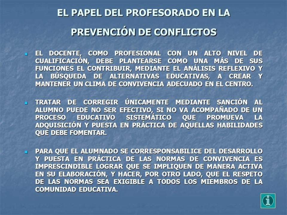 EL PAPEL DEL PROFESORADO EN LA PREVENCIÓN DE CONFLICTOS