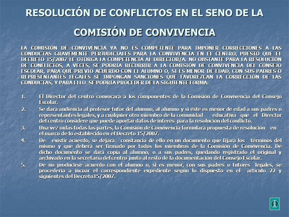 RESOLUCIÓN DE CONFLICTOS EN EL SENO DE LA COMISIÓN DE CONVIVENCIA