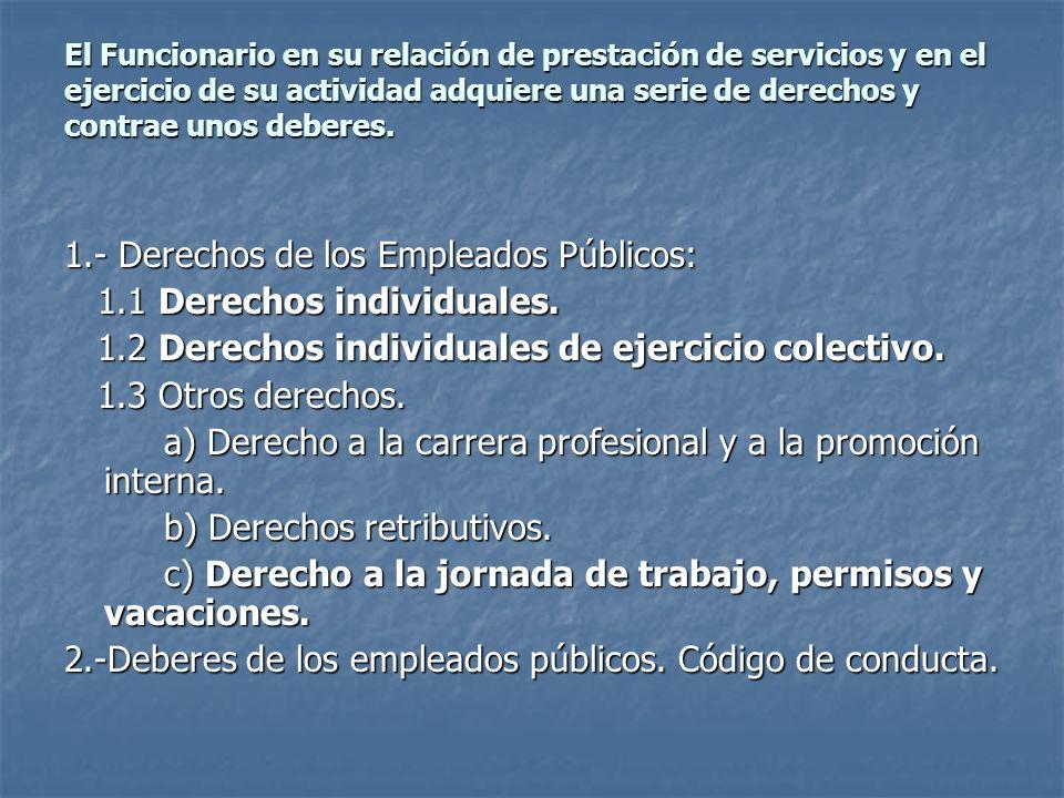 1.- Derechos de los Empleados Públicos: 1.1 Derechos individuales.