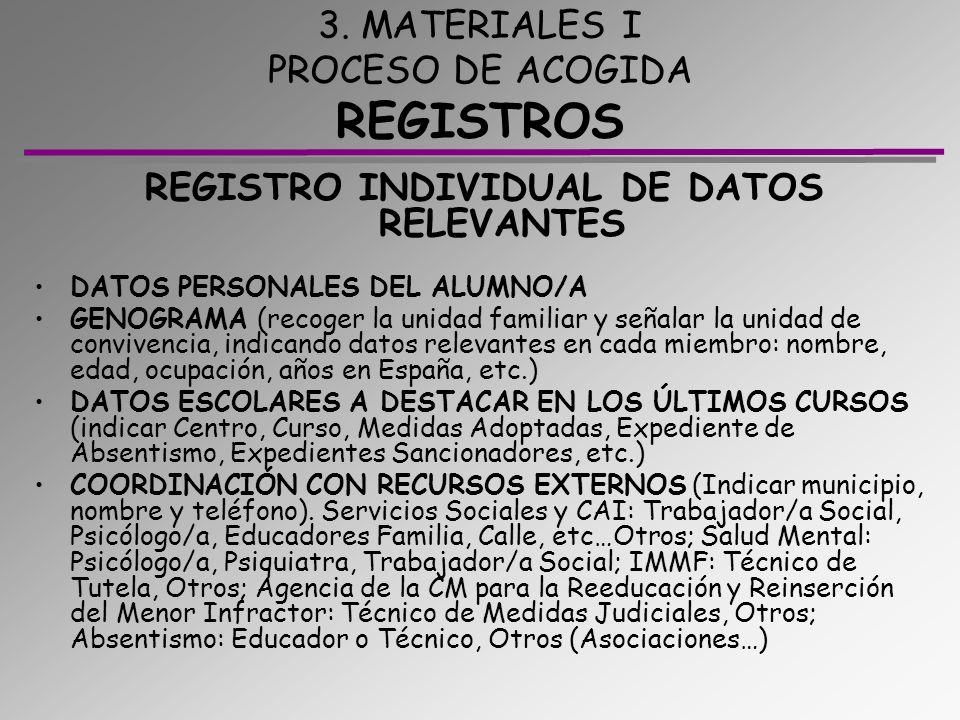3. MATERIALES I PROCESO DE ACOGIDA REGISTROS