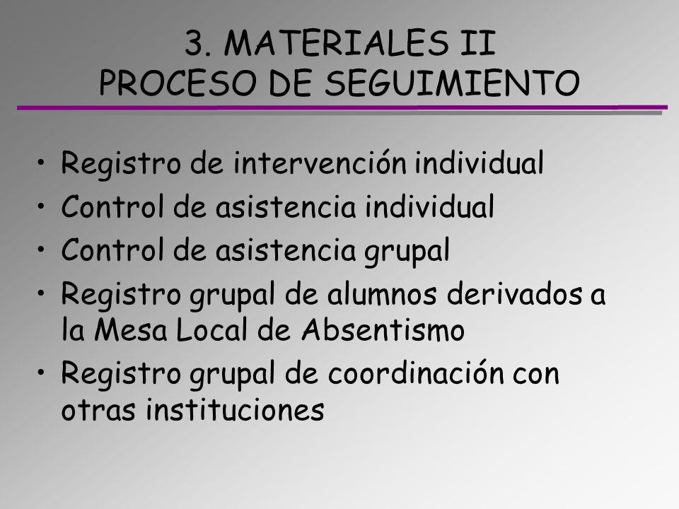 3. MATERIALES II PROCESO DE SEGUIMIENTO