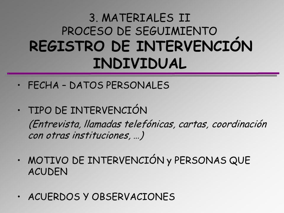 3. MATERIALES II PROCESO DE SEGUIMIENTO REGISTRO DE INTERVENCIÓN INDIVIDUAL