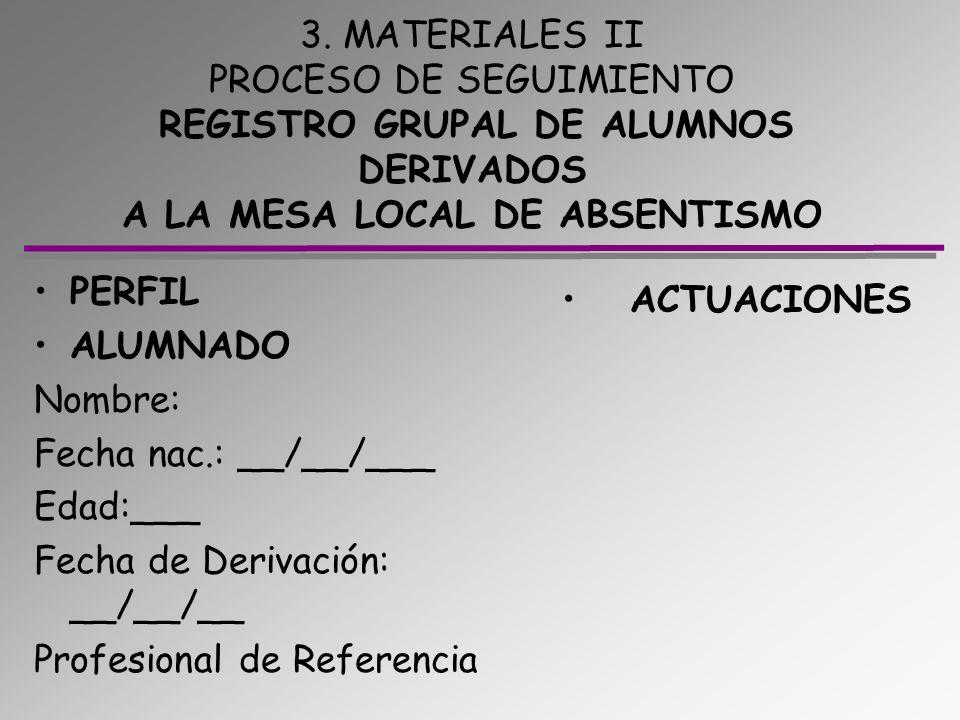 3. MATERIALES II PROCESO DE SEGUIMIENTO REGISTRO GRUPAL DE ALUMNOS DERIVADOS A LA MESA LOCAL DE ABSENTISMO