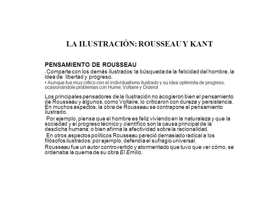 LA ILUSTRACIÓN: ROUSSEAU Y KANT