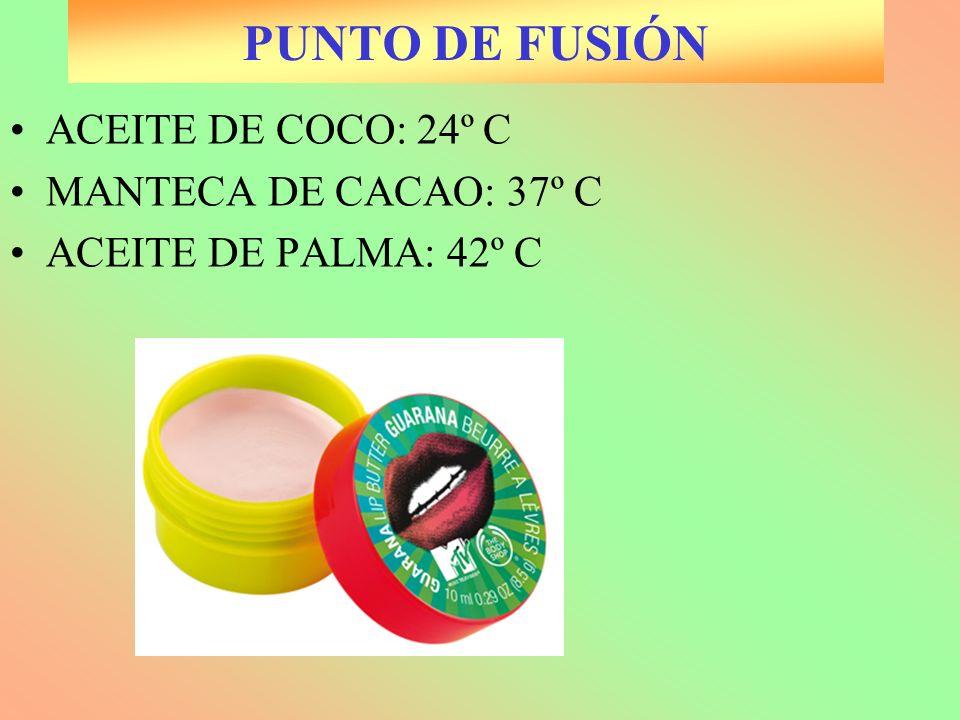 PUNTO DE FUSIÓN ACEITE DE COCO: 24º C MANTECA DE CACAO: 37º C