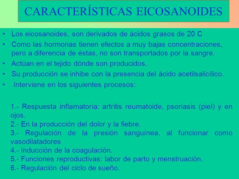 CARACTERÍSTICAS EICOSANOIDES