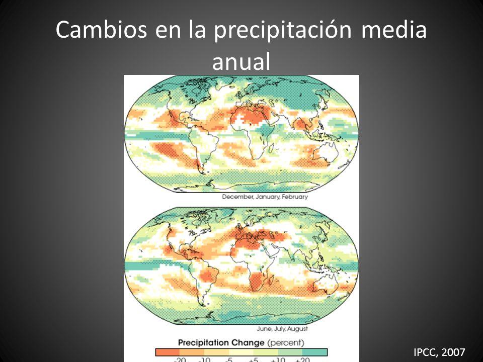 Cambios en la precipitación media anual