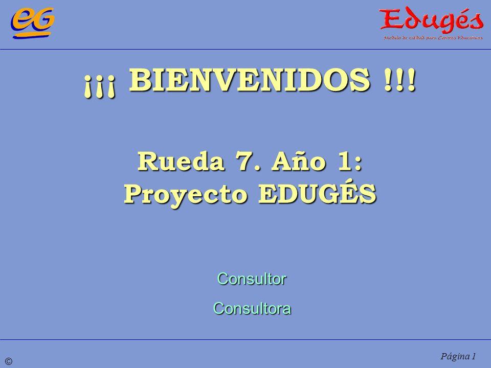 ¡¡¡ BIENVENIDOS !!! Rueda 7. Año 1: Proyecto EDUGÉS Consultor