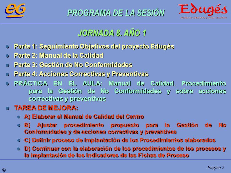 PROGRAMA DE LA SESIÓN JORNADA 8. AÑO 1