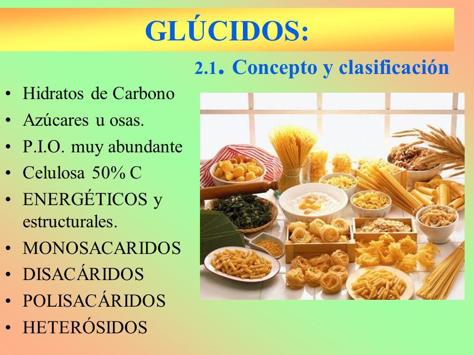 GLÚCIDOS: 2.1. Concepto y clasificación Hidratos de Carbono