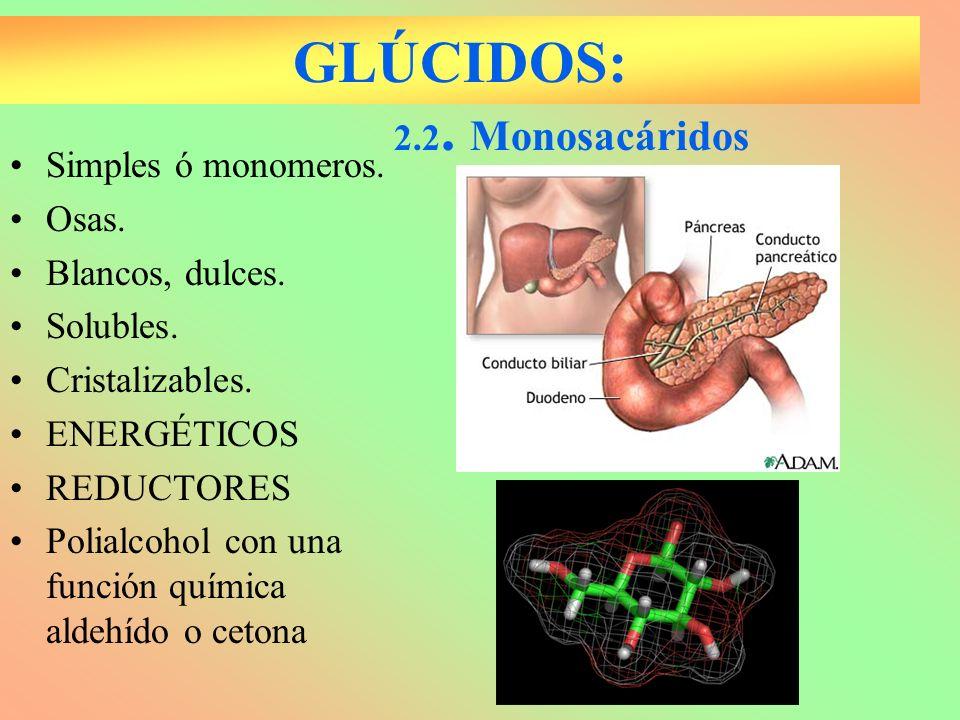 GLÚCIDOS: 2.2. Monosacáridos Simples ó monomeros. Osas.