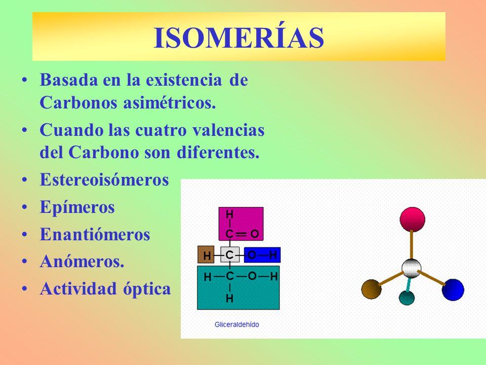 ISOMERÍAS Basada en la existencia de Carbonos asimétricos.