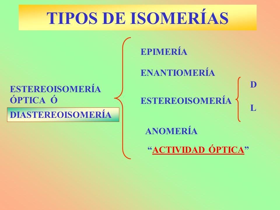 TIPOS DE ISOMERÍAS EPIMERÍA ENANTIOMERÍA D ESTEREOISOMERÍA ÓPTICA Ó