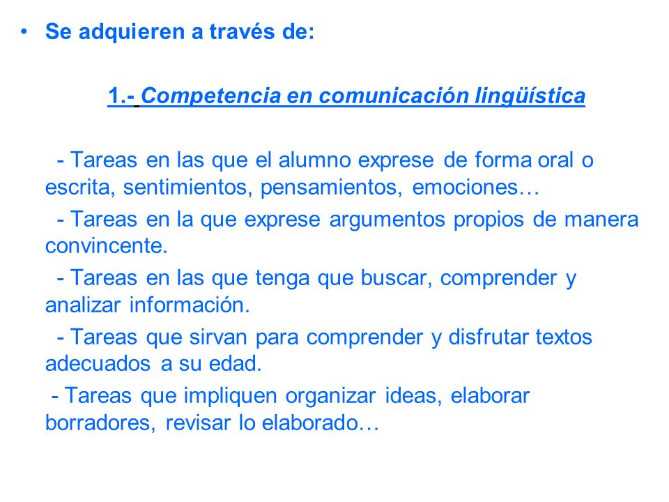 1.- Competencia en comunicación lingüística