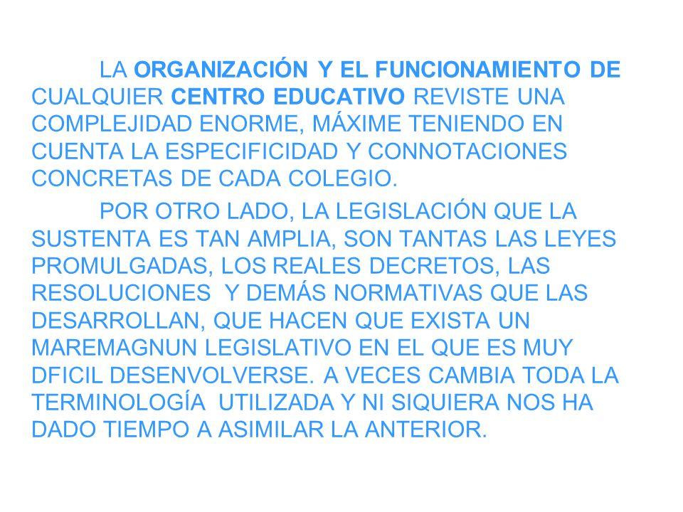 LA ORGANIZACIÓN Y EL FUNCIONAMIENTO DE CUALQUIER CENTRO EDUCATIVO REVISTE UNA COMPLEJIDAD ENORME, MÁXIME TENIENDO EN CUENTA LA ESPECIFICIDAD Y CONNOTACIONES CONCRETAS DE CADA COLEGIO.