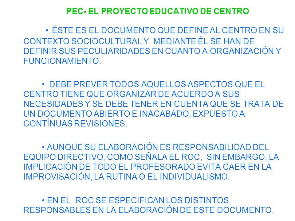 PEC- EL PROYECTO EDUCATIVO DE CENTRO