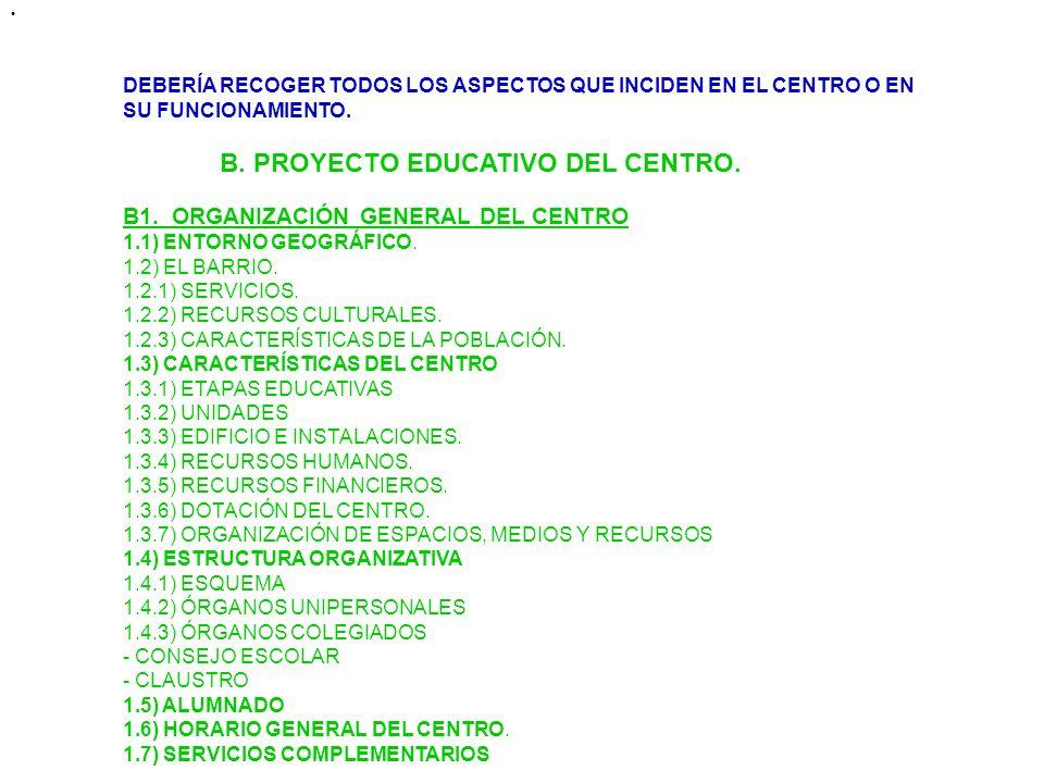B. PROYECTO EDUCATIVO DEL CENTRO.