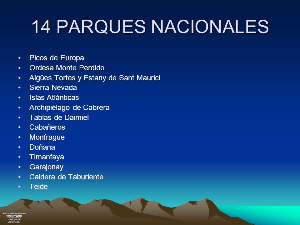 14 PARQUES NACIONALES Picos de Europa Ordesa Monte Perdido