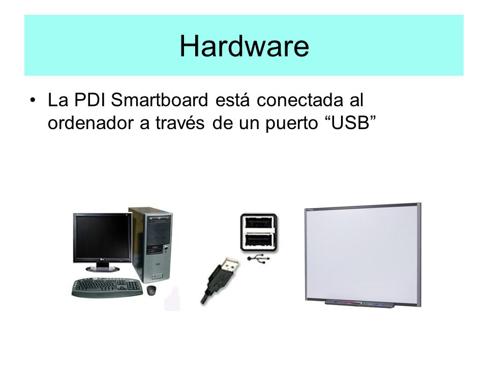 Hardware La PDI Smartboard está conectada al ordenador a través de un puerto USB