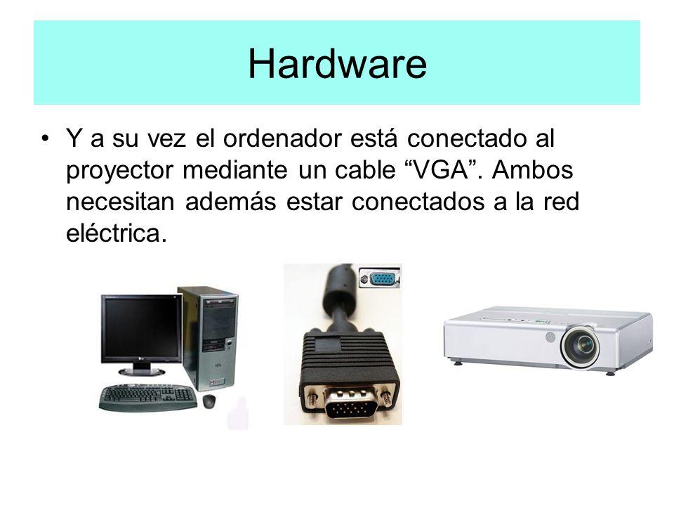 Hardware Y a su vez el ordenador está conectado al proyector mediante un cable VGA .