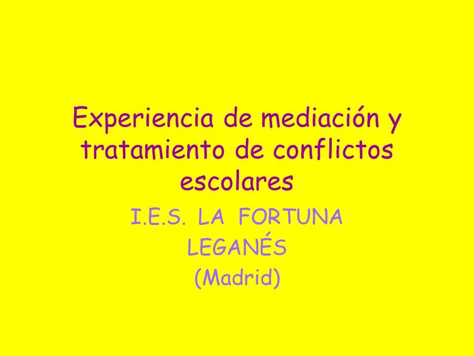 Experiencia de mediación y tratamiento de conflictos escolares