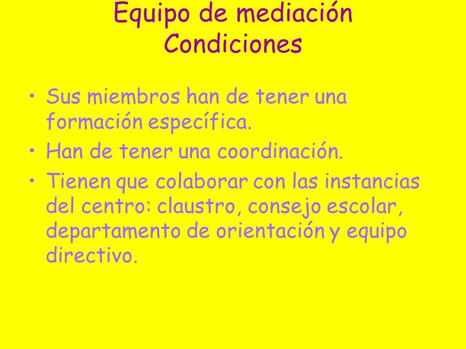 Equipo de mediación Condiciones
