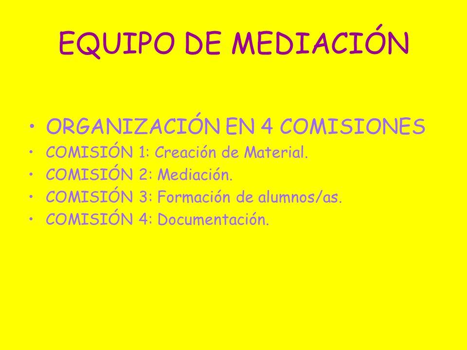 EQUIPO DE MEDIACIÓN ORGANIZACIÓN EN 4 COMISIONES