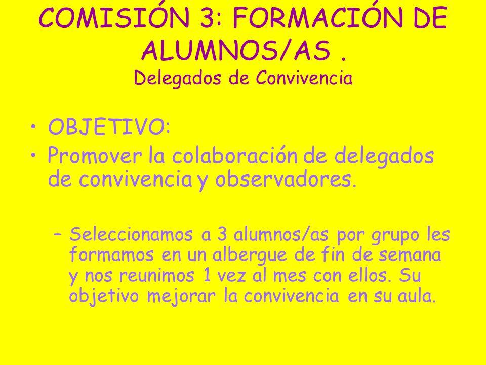 COMISIÓN 3: FORMACIÓN DE ALUMNOS/AS . Delegados de Convivencia