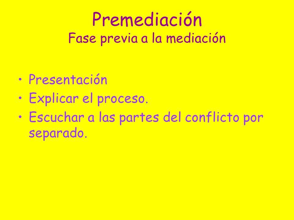 Premediación Fase previa a la mediación