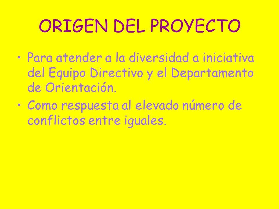 ORIGEN DEL PROYECTO Para atender a la diversidad a iniciativa del Equipo Directivo y el Departamento de Orientación.