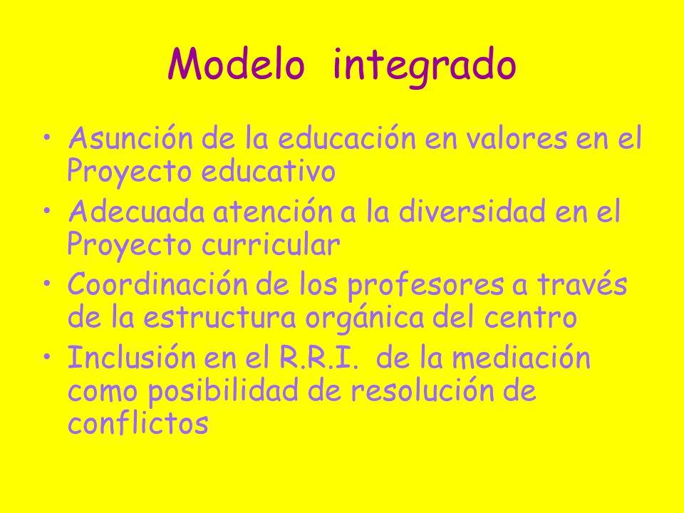 Modelo integradoAsunción de la educación en valores en el Proyecto educativo. Adecuada atención a la diversidad en el Proyecto curricular.