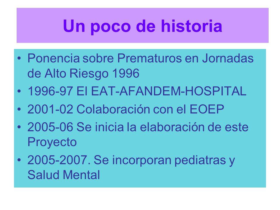 Un poco de historia Ponencia sobre Prematuros en Jornadas de Alto Riesgo 1996. 1996-97 El EAT-AFANDEM-HOSPITAL.
