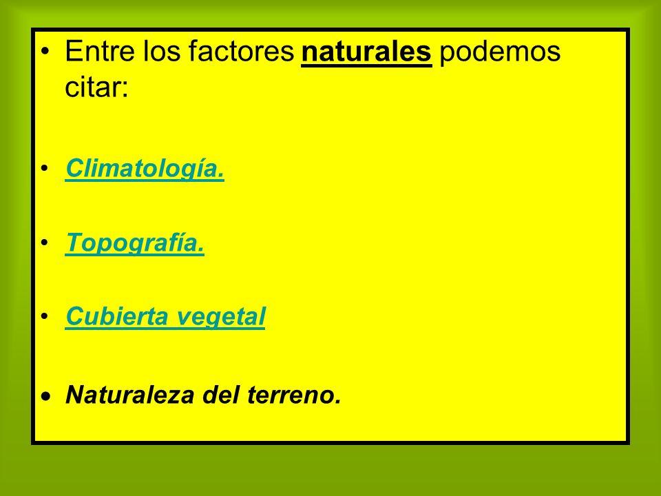 Entre los factores naturales podemos citar: