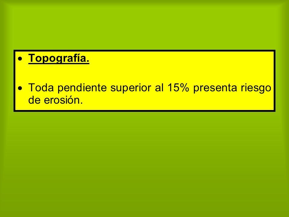 Topografía. Toda pendiente superior al 15% presenta riesgo de erosión.