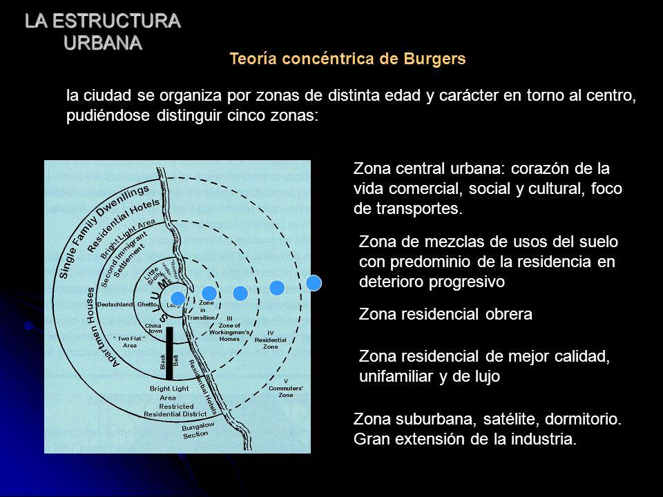 LA ESTRUCTURA URBANA Teoría concéntrica de Burgers