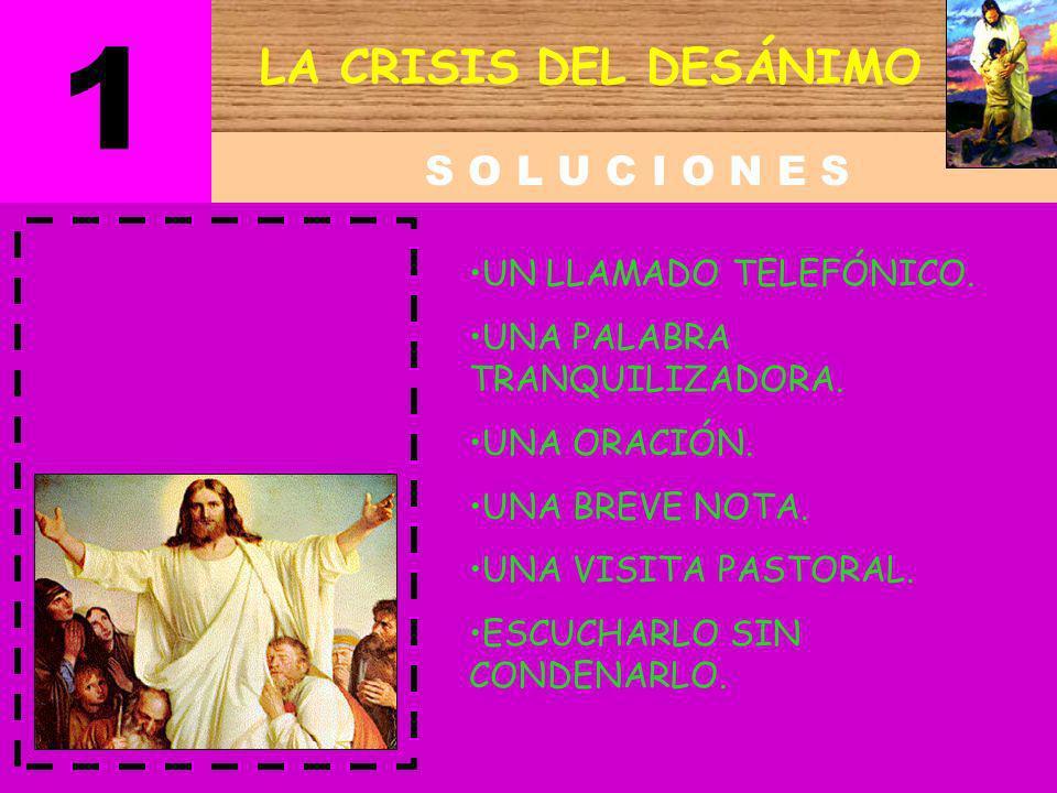 1 LA CRISIS DEL DESÁNIMO S O L U C I O N E S UN LLAMADO TELEFÓNICO.