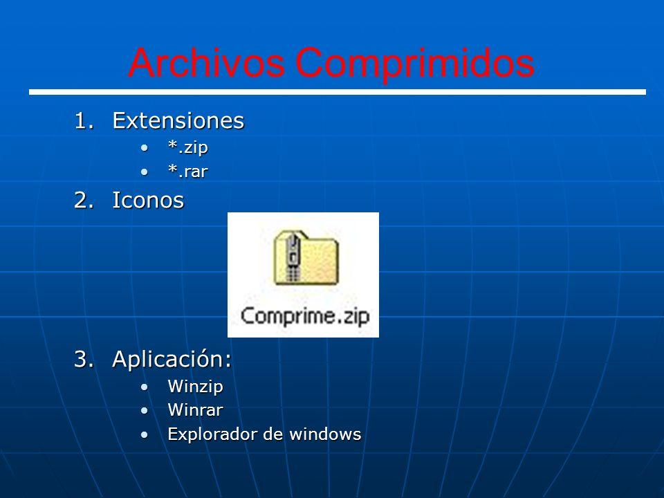 Archivos Comprimidos Extensiones Iconos Aplicación: *.zip *.rar Winzip