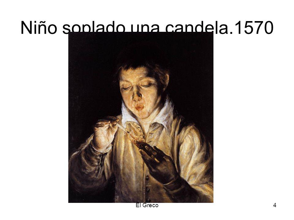Niño soplado una candela.1570
